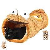 UniM Pet Interactive Play Katzentunnel Multifunktions Warm Snug Carpet Mat Bett mit Crinkle Sound, zusammenklappbares Katzenspielzeug, ideal für Welpen Kaninchen Meerschweinchen, Dinosaurier Form
