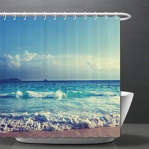 Ocean Duschvorhang tropischen Insel Decor Ocean Waves Seychellen Beach in sunset time Bild Polyester-Print-Bad-Set mit Haken Marineblau Blau Weiß ¸ ± ± ¾ 179,8x 190,5cm, Polyester, Color002, 70.8\W x 75\H : $37.88