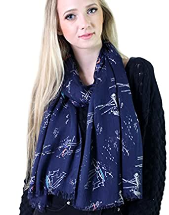 Women's Sailboat and Lighthouse Navy Blue Nautical Fashion Scarf / Shawl / Wrap