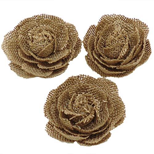 SODIAL 24 Teile / Los Natürliche Leinen Blume Hand Gemachte Rustikale Diy Bastel Bedarf Vintage Hochzeit Dekoration Mittelstücke (Hochzeiten Mittelstücke Für Rustikale)