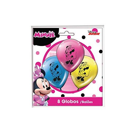 Verbetena, 014001139, pack 8 globos Minnie Mouse Pink, disney