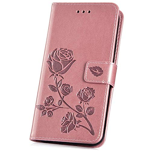 JAWSEU PU Leder Tasche kompatibel mit Samsung Galaxy A6 2018 Rose Blumen Muster Floral Rose Gold - Dichte, Florale Muster