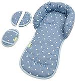 PRIEBES EMIL Sitzverkleinerer mit Gurtpolster | Universal-Set mit Kopfschutz & Sitzverkleinerer & Gurtpolster für jede Babyschale | atmungsaktiv & waschbar | Schonbezug 100 % Baumwolle, Design:stars denim