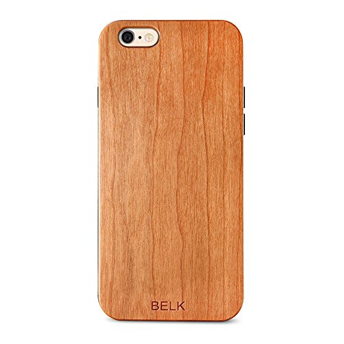 Custodia per iPhone 6/6S, Custodia in legno, BELK 2 nd Gene Flex Hybrid [facile scatto] casi in legno con dura BLE rinforzato PC – Cuscino per iPhone 6s/iphone 6 4.7 Inch, Legno, Cherry, iPhone 6 / 6s Cherry