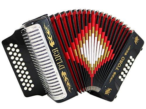 D 'luca d3112t-fbe-bk Toro Knopfakkordeon 31Schlüssel 12Bass auf FBE mit Fall und Riemen schwarz