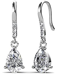 Private Twinkle 18ct White Gold Plated Hook Earrings made with Crystal from SWAROVSKI (8mm)