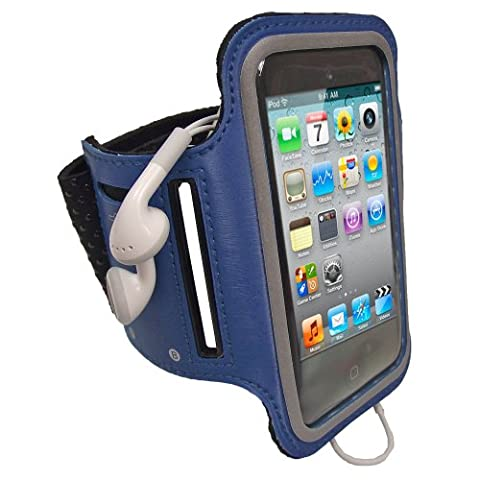 iGadgitz Reflective Anti-Slip Neoprene Sports Gym Jogging Armband for Apple iPod Touch 2G/3G/4G - Blue
