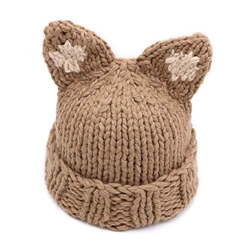 or Katze Ohrhut, warme handgefertigte Wolle Strickhut im Freien warm atmungsaktive weibliche Strickhut Ohrenschützer Hut,Beige ()