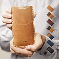 iPhone X 8 7 plus 6 6s + 5 5s 5c SE Hülle Leder Etui Tasche Cover Case personalisiert durch Prägung mit ihrem Namen, Handyschale