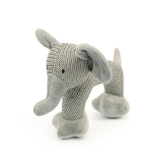Toypalace24 Hunde Kuscheltier Elefant/weiches Hunde-Spielzeug für große Hunde und für Welpen/Stofftier quietscht beim drücken/Größe: 15 cm/Farbe: Grau (Drücken Fleck)