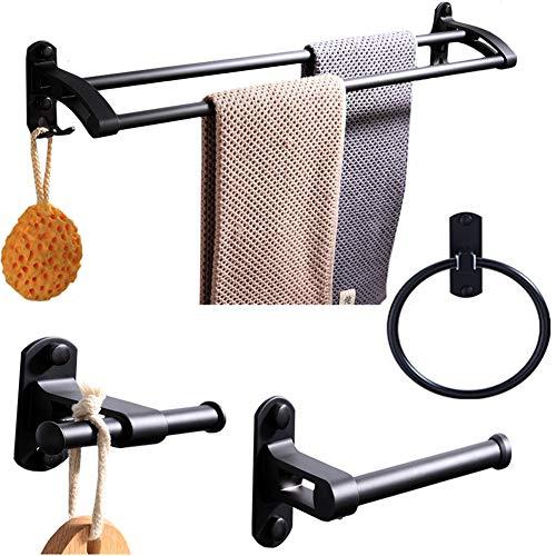 BAIVIN 4 Stück Handtuchhalter-Zubehör, Badezimmer-Hardware Wandmontage Doppel-Handtuchhalter Haken Toilettenpapier Handtuchring, Mattschwarz -