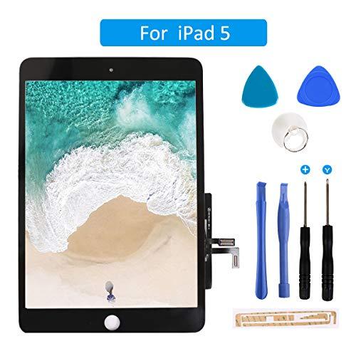 FLYLINKTECH Touchscreen für iPad 5 Schwarz, LCD Display, Touchscreen, voller Front-Touchscreen Digitizer Glas Montage Reparatur Ersatzteile mit Home Button flexiblem Kabel und Werkzeuge