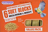 Suet To Go Wild Bird Mealworm and Insect Suet Block, 300 g - Pack of 6
