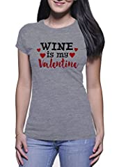 Idea Regalo - BlackMeow Wine Is My Valentine Donna Grey T-Shirt - X-Large
