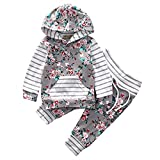 Neugeborenen Hoodie TopsHosen Outfits Kleidung Set Kleidung Mädchen Babykleidung Kleinkind Tops HosenSet Jungen Kinderbekleidung Lange Hülsen Spielanzug T-Shirt (0M-24M) LMMVP (Grau, 70 cm)