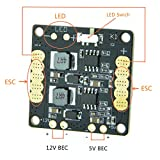 FOXEER CC3D Flight Controller Mini Power Distribution Board PDB w/LED (Comes with BEC 5V 12V,LED Controller,Tracker,Low Voltage Alarm) for Drone FPV Racing