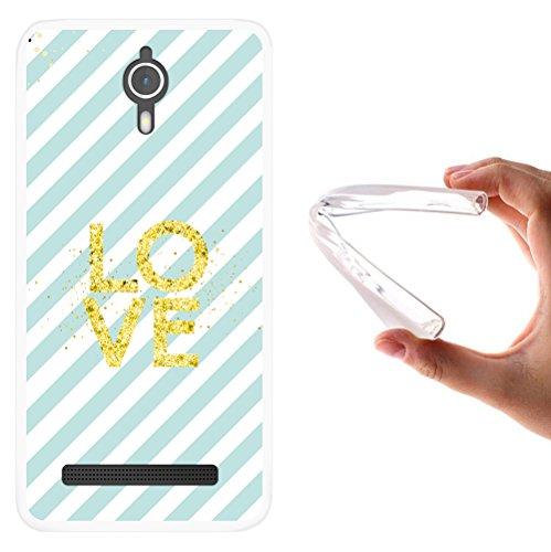 WoowCase Coolpad Porto S Hülle, Handyhülle Silikon für [ Coolpad Porto S ] Chic Stil Golden- Blaue gestreifte Punkte Handytasche Handy Cover Case Schutzhülle Flexible TPU - Transparent