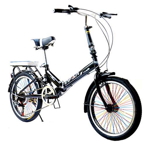 Pocket bikes d'enduro Vélo Pliant Unisexe-Adulte vélo 6 Vitesses 20 Pouces Ensemble Vitesse Variable vélo Amortisseur vélo (Color : Black, Size : 155 * 111 * 25cm)