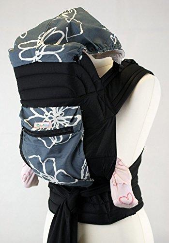 Palm and Pond Mei Tai fascia portabebè con cappuccio e tasca - Bianco/Grigio
