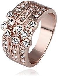 AMDXD Schmuck Vergoldet Damen Ringe (Eheringe) Rose-Design Einzigartig Gr.57 (18.1)
