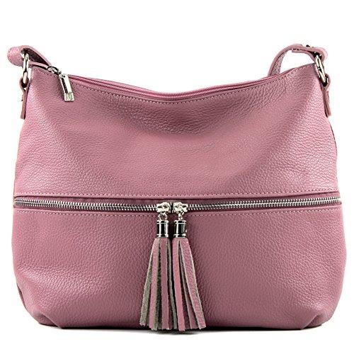 modamoda de - ital. Ledertasche Damentasche Umhängetasche Tasche Schultertasche Leder T159 Altrosa