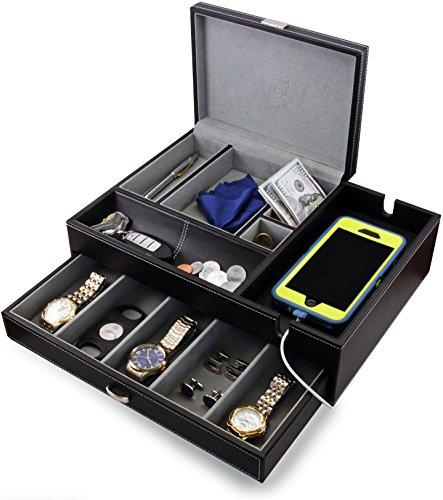 HOUNDSBAY Admiral Kommode Valet Box & Herren Schmuck Box Veranstalter mit Ladestation Smartphone (Grau)