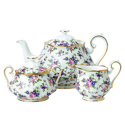 1940 English Chintz Teapot/sugar/cream, 3 Piece Set