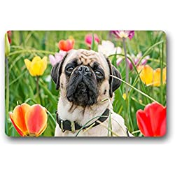 costumbre Pug Dog Perro Carlino – Resistente al calor no tejida plástico Felpudo Doormat 59.9 zentimeters X 39.8 zentimeters, tela, a, 23.6x15.7(inches)