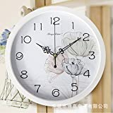 AYYA Reloj creativo 12 moda reloj de pared Reloj de pared sala mute para colgar en la pared simple reloj de cuarzo creativo Lotus White box