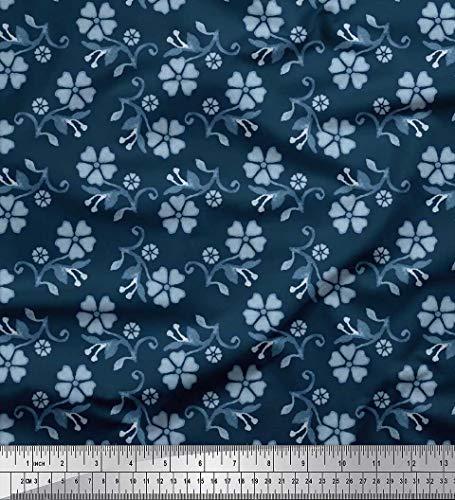 Soimoi Blau Baumwolle Ente Stoff Blätter & Blumen Batik Stoff Meterware 56 Zoll breit -