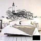 Wandtattoo Wandaufkleber Aufkleber Sticker Ostsee Küste Warnemünde Leuchtturm M1899 ausgewählte Farbe: *schwarz* ausgewählte Größe: *XL*