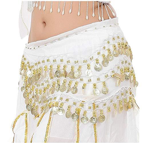 Jazz Kostüm Katalog Dance - Lonshell Hüft-Tuch für Bauchtanz Münzgürtel Strandtuch Bauchtanz Hüfttuch Kostüm Chiffon Rock Wrap Gold Münze Taille Gürtel Belly Dance Skirt