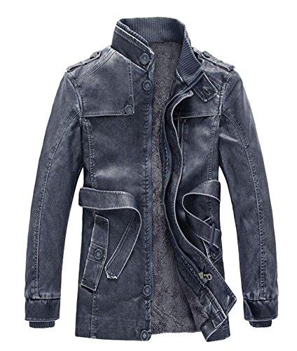 Ghope Herren Pelz Lederjacke 70er jahre Herrenjacke Sweatjacke Zipper Kunstlederjacke Biker Leder Jacke Blau