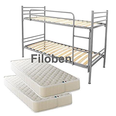 Filoben - Lit superposé complet avec sommier à lattes et 2matelas, (Metallo Acciaio Testata)