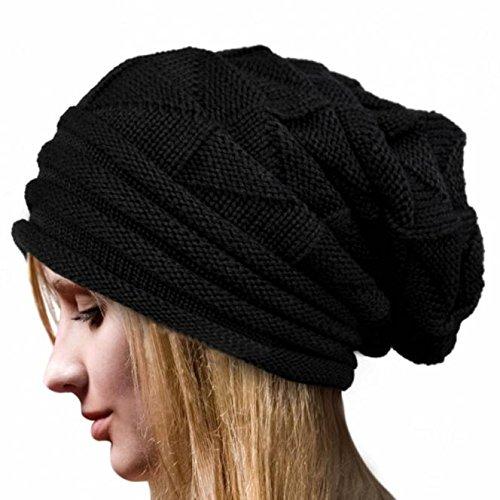 Damen Strickmütze Beanie Häkeln Mütze Lonshell Winter Feinstrick Frauen Mütze mit Unisex Gehäkelt Beanie (Schwarz)