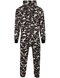 fcfa280889c5 Mens Unisex Onesie Full Camouflage Print Zip Up All in One Hooded Army Camo  Jumpsuit