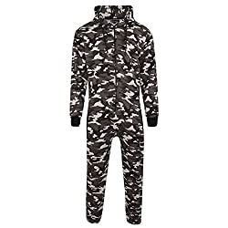 MyMixTrendz Mens Unisex Onesie Full Camouflage Print Zip Up All In One Hooded Army Camo Jumpsuit