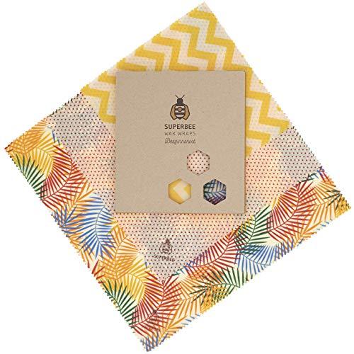 SuperBee Enveloppes de Cire d'Abeille | Ensemble de 3: Petit, Moyen et Grand | Commerce Éthique, Emballage Alimentaire Réutilisable et Écologique | Tropical Paradise