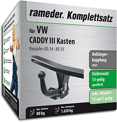 Rameder Komplettsatz, Anhängerkupplung starr + 13pol Elektrik für VW Caddy III Kasten (123659-05083-1)