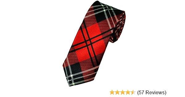 New Grey Black Scottish Tartan Style Casual Slim Narrow Mens Tie Burns Night Son