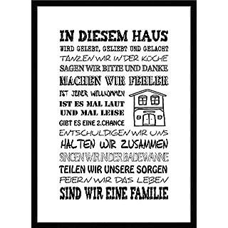 artissimo, Spruch-Bild gerahmt, 51x71cm, PE6003-ER, In diesem Haus.., Bild, Wandbild mit Spruch, Spruch-Poster mit Rahmen, Geschenk-Idee, Wand-Deko, Plakat, Kunst-Druck, Typographie, Text, Schrift, Zitat