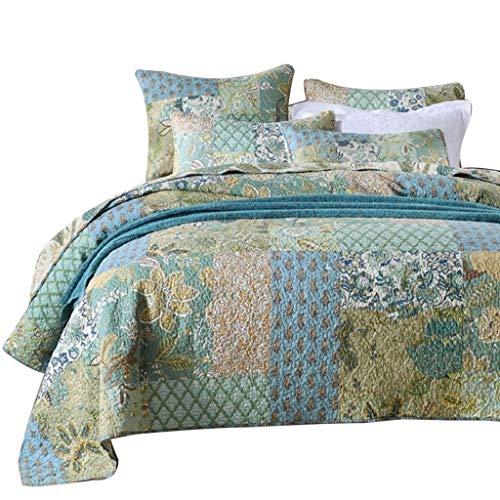 CMCL Kreative 3 Stücke Gesteppte Tagesdecke 100% Baumwolle Patchwork Quilt Bed Throw Tröster Blue Floral Bettwäsche Set Double King Size Wurf Bettwäsche -