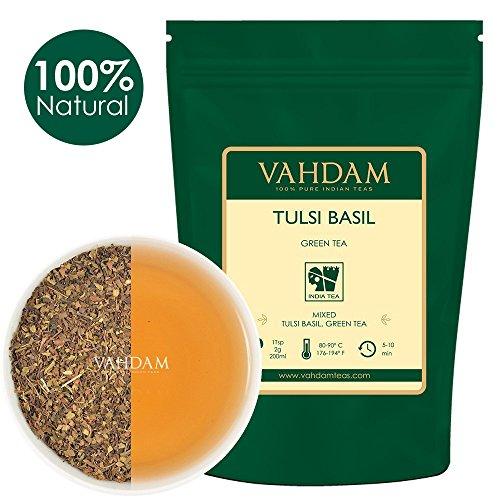 Grüner Tee-mischung (Tulsi Grüne Teeblätter aus Indien, Köstliche detox Mischung aus grünem Tee gemischt mit frischen Basilikum Blättern, KRAFTVOLLE ANTIOXIDANTIEN, 100% Natürliche Tulsi Tee, (Green Tea) Tee 200g)