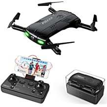 RC Quadcopter Drone with 2.0MP Camera Live Video 2 Batteries Foldable Arms Pocket Mini Drone for Beginners 2.4G 6-Axis Headless Mode RTF Helicopter
