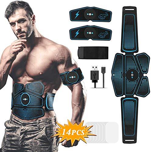 Hieha Electroestimulador Muscular, Abdominales ABS Estimulador Muscular, 8 Modos & 10 Niveles de Entrenador para Abdomen/Cintura/Brazos/Piernas