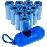 Zacro Bolsas para Excrementos de Perro con 15 bolsas en cada rollo/10 Rollos en total,Incluye Dispensador,Pack de 150,Color de Azul