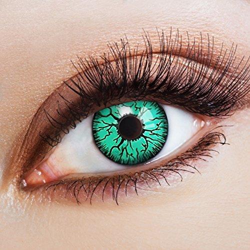 aricona Farblinsen Farbige Kontaktlinse Green Blood Fiber   - Deckende Jahreslinsen für dunkle und helle Augenfarben ohne Stärke, Farblinsen für Karneval, Fasching, Motto-Partys und Halloween Kostüme (Dunkler Karneval Kostüm)