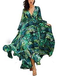 6a9be625b09 AOOPOO Femme Robe Longue D été Bohême Maxi Robe Feuille Verte Imprimé  Floral Col V