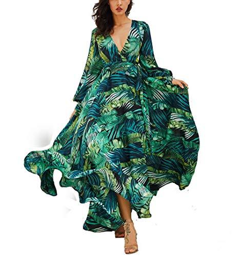 AOOPOO Femme Robe Longue D'été Bohême Maxi Robe Feuille Verte Imprimé Floral Col V Robe de Plage Robe de Vacances Ceinture(XXL,Vert)