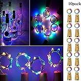 Sixcup10 Stück Bunte LED Flaschenlicht Korken,Lichterketten USB Powered Akku LED Nacht Licht Weinflasche Hochzeit Party Halloween Weihnachten Romantische Deko (Multicolor)